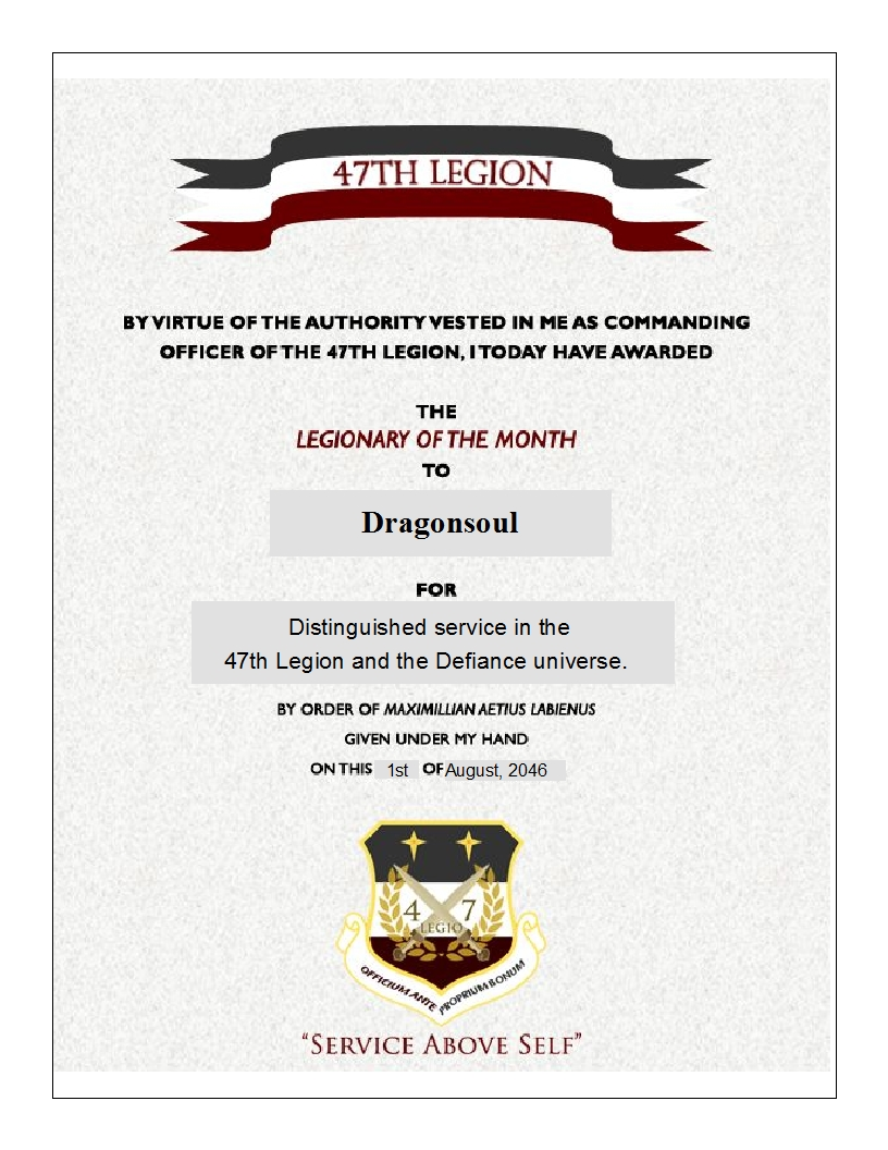 Legionaries of the Month